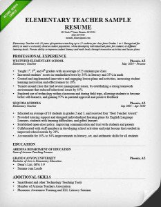 Elementary Teacher Sample Resume